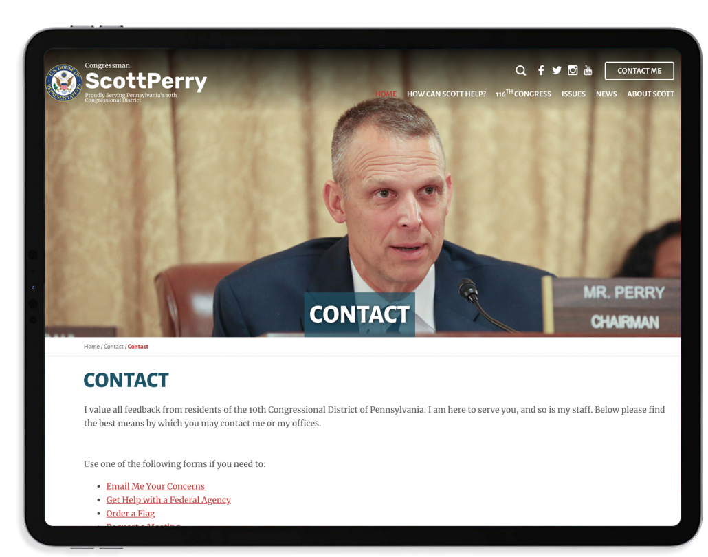 Congressman Scott Perry's website contact page on a tablet